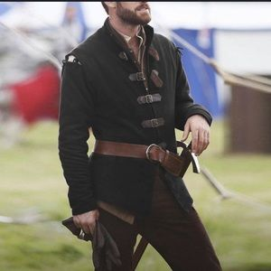 Men's black renaissance medieval Halloween xl top